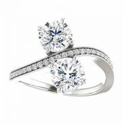 'Only Us' Two Stone Moissanite Engagement Ring in 14K White Gold