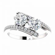 Two Stone 'Only Us' Moissanite Engagement Ring in 14K White Gold