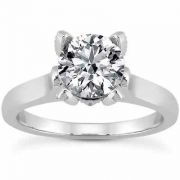 White Topaz and Diamond Accent Solitaire Engagement Ring