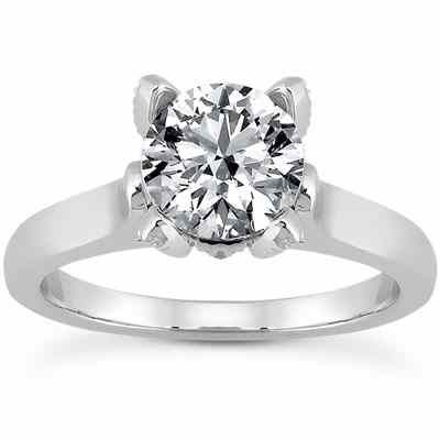 White Topaz and Diamond Accent Solitaire Engagement Ring -  - US-ENR7961WTW
