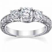 White Topaz Antique-Style Three Stone Engagement Ring, 14K White Gold