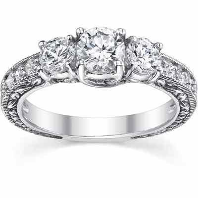 White Topaz Antique-Style Three Stone Engagement Ring, 14K White Gold -  - QDR-6-WT
