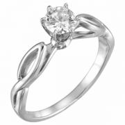 White Topaz Cathedral Knot Ring in 14K White Gold