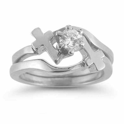 White Topaz Cross Engagement and Wedding Ring Set in Sterling Silver -  - AOGEGR-3632SS
