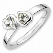 White Topaz Double Heart Sterling Silver Ring