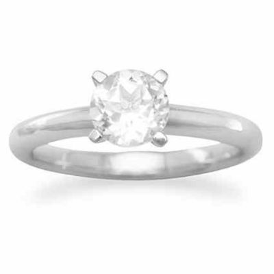 White Topaz Solitaire Engagement Ring in Sterling Silver -  - MMARG-83641