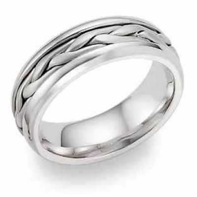 Wide Braided Wedding Band in 18K White Gold -  - WED-L-18K