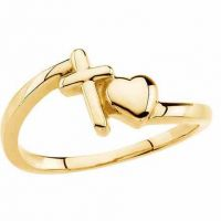 With All Thy Heart Cross and Heart Ring, 14K Yellow Gold