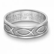Women's 14K White Gold Ichthus Bible Verse Ring