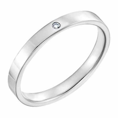 Women s 2.5mm Flat Diamond Wedding Band Ring, 14K White Gold -  - STLRG-123149-25W