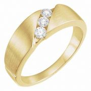 Women's 3-Stone 1/5 Carat Diamond Wedding Band Ring, 14K Gold