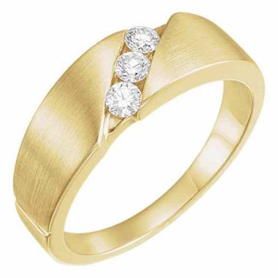 Women s 3-Stone 1/5 Carat Diamond Wedding Band Ring, 14K Gold -  - STLRG-60131L