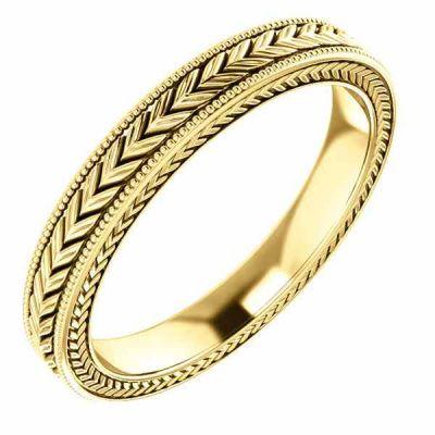 Women s Carved Design Wedding Band Ring in 14K Gold -  - STLRG-51582Y