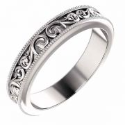 Women's Carved Paisley Pattern Wedding Band Ring