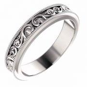 Silver Paisley Pattern Wedding Band Ring
