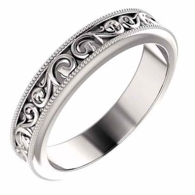 Women s Carved Paisley Pattern Wedding Band Ring -  - STLRG-51581W