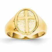 Women's Cross Signet Ring, 14K Gold