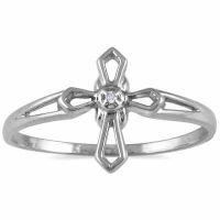 Women's Diamond Cross Ring in 10K White Gold