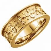 Women's Fluer-de-Lis Wedding Band Ring in 14K Gold