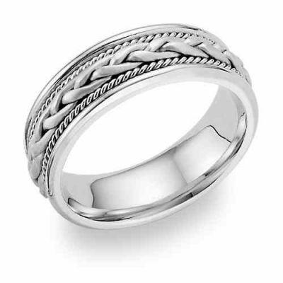 Woven Wedding Band Ring, 14K White Gold -  - WED-B