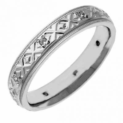 Platinum XXO Diamond Wedding Band Ring for Women -  - NDLS-301PL