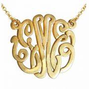Yellow Gold Handmade Script Monogram Necklace, 1 Inch