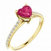 Yellow Gold Heart-Shape Pure Pink Topaz Diamond Ring