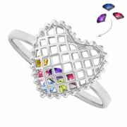 Your Birthstones Inside Heart Ring in White Gold