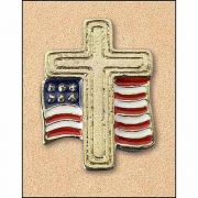 Cross w/American Flag Lapel Pin (Pack of 25)
