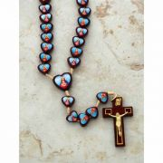 Brazilian Wood Rosary, Two-Sided Hearts, Sacred Heart / Immaculate Heart