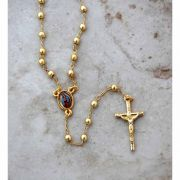 Brazilian Rosary Necklace, Gold Plated w/ Guadalupe