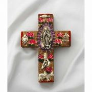 Mexican Hand Painted Cross w/ Milagros, 4 in.