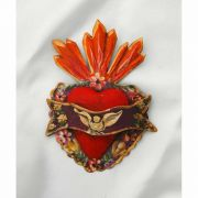 Mexican Hand Painted Tin Heart, 5 in.