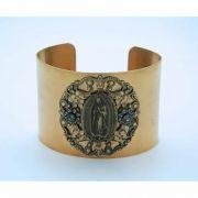 Vintage Style Cuff Bracelet, Guadalupe Medal, Black Diamond Swarovski Crystals