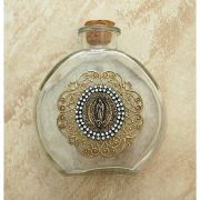 Vintage Style Holy Water Bottle, Guadalupe Medal, Double Row Swarovski Crystals