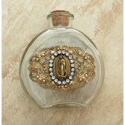 Vintage Style Holy Water Bottle, Guadalupe Medal, Clear Swarovski Crystals