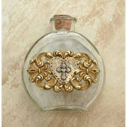 Vintage Style Holy Water Bottle, Hammered Heart w/ Cross Medal