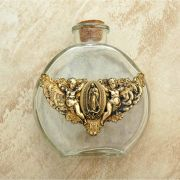 Vintage Style Holy Water Bottle, Angels w/ Guadalupe Medal