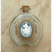 Vintage Style Holy Water Bottle, Angel Cameo, Double Row Swarovski Crystals