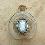 Vintage Style Holy Water Bottle, Guadalupe Cameo, Double Row Swarovski Crystals