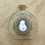 Vintage Style Holy Water Bottle, Mary of the Streets Cameo, Double Row Swarovski Crystals