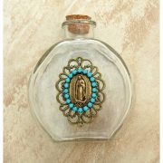 Vintage Style Holy Water Bottle, Guadalupe Medal, Turquoise Swarovski Crystals