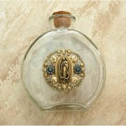 Vintage Style Holy Water Bottle, Guadalupe Medal, Black Diamond Swarovski Crystals