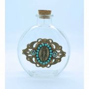 Vintage Style Holy Water Bottle, Miraculous Medal, Turquoise Swarovski Crystals