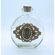 Vintage Style Holy Water Bottle, Miraculous Medal, Clear Swarovski Crystals