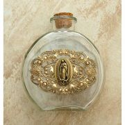 Vintage Style Holy Water Bottle, Guadalupe Medal