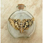 Vintage Style Holy Water Bottle, Angels w/ Swarovski Crystal Cross