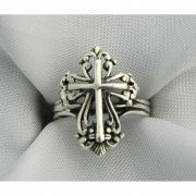 Sterling Silver Ring, Filigree Cross