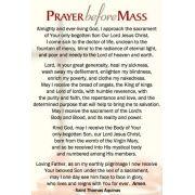 Prayer Before & After Mass (Large) Prayer Card (50 pack)