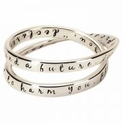 Ring-Double Mobius Jer29:11 Silver Plated Sz 9